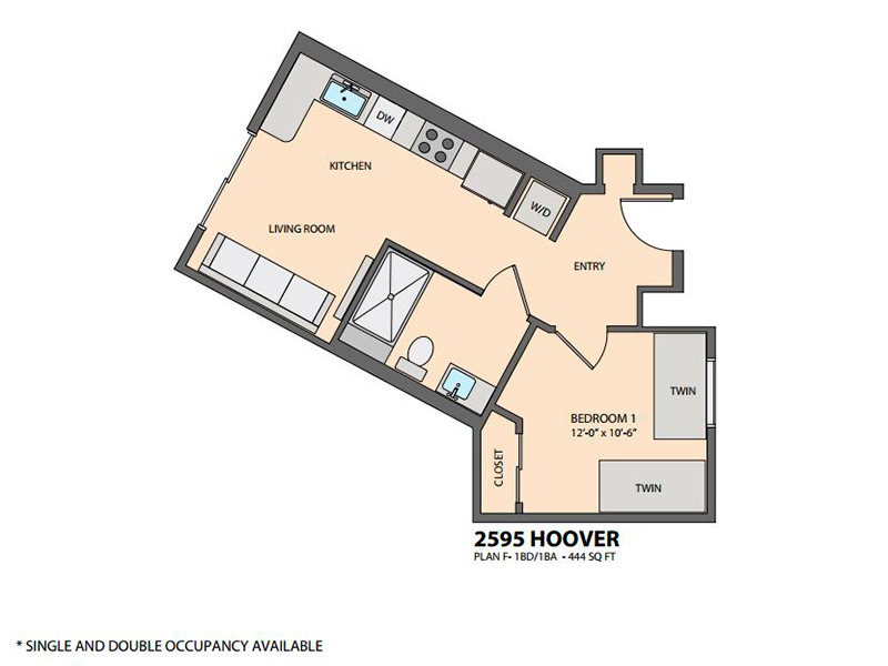 USC Student Housing 2595 Hoover St 90007 USC Apartment – Usc Village Housing Floor Plans